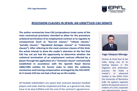 RESCISSION CLAUSES IN SPAIN: AN UNSETTLED CAS DEBATE